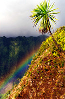 Vibrant rainbow spectrum over Kalalau Valley Kauai  Hawaii