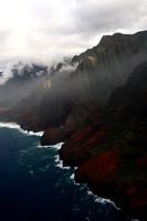 Kalalau Valley Na Pali coast as seen from helicopter Kauai Hawaii