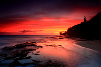 Sunset vibrant colorful amazing Diamond Head Beach Honolulu Oahu Hawaii