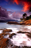 Beautiful sunset colorful vibrant China Walls Oahu Hawaii