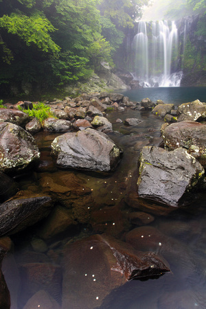 Cheonjeyeon Waterfalls on Jeju Island, South Korea