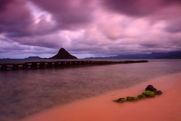 Mokolii Island Chinaman's Hat sunset Oahu Hawaii
