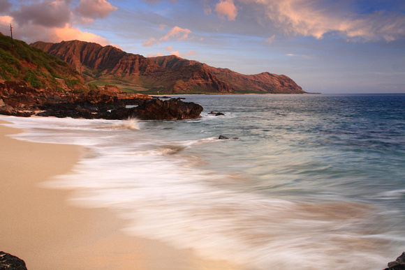 Sunset from Makua Yokohama Bay leeward side Oahu Hawaii