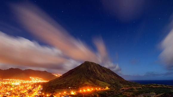 Night long exposure stars streaming clouds Koko Head Hawaii Kai Oahu
